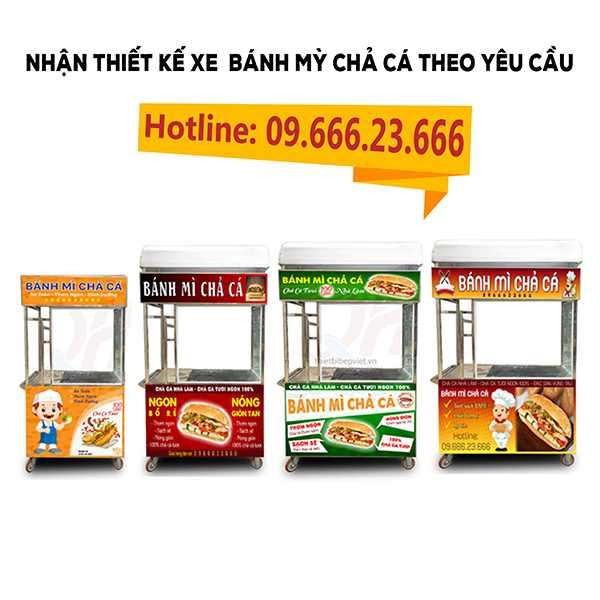 Quang Huy nhận thiết kế xe bánh mì chả cá đẹp theo yêu cầu