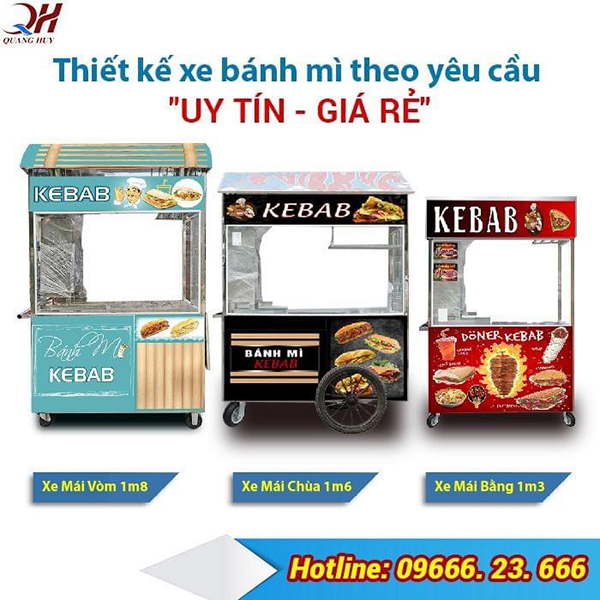 Quang Huy nhận thiết kế xe bán bánh mì theo yêu cầu uy tín giá rẻ