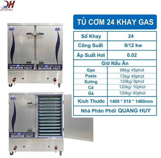 Thông số tủ cơm công nghiệp 24 khay gas