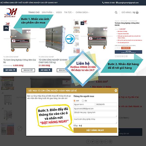 Hướng dẫn đặt mua tủ nấu cơm trên hệ thống website của Quang Huy