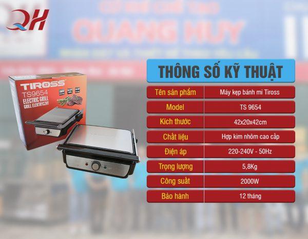 Thông số kỹ thuật của máy kẹp bánh mỳ Tiross 9654