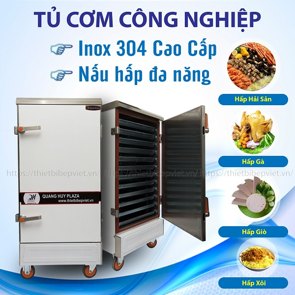 Tủ cơm công nghiệp Quang Huy với khả năng nấu hấp đa năng tiện lợi