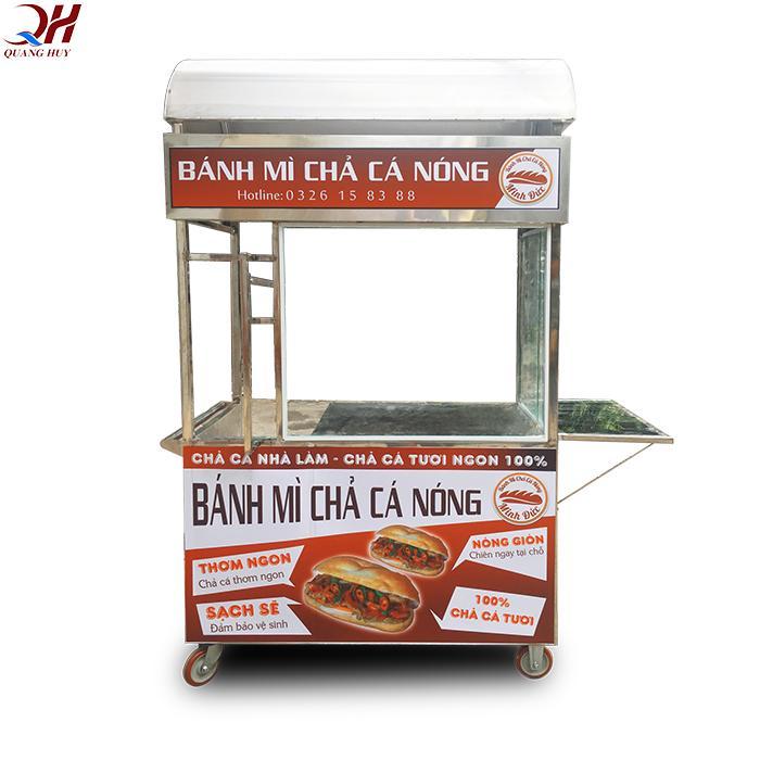 Xe bánh mì chả cá nóng gia công tại Quang Huy