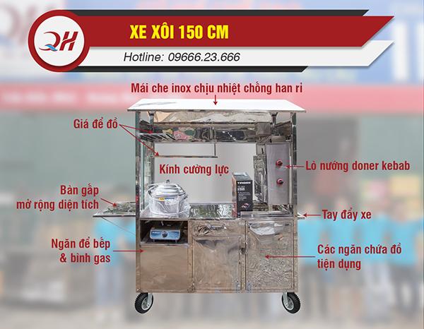 Cấu tạo cơ bản của xe bán xôi mặn 1m5 tại Quang Huy