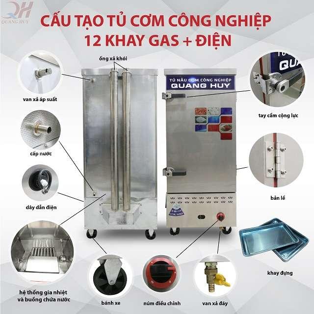 Cấu tạo tủ nấu cơm công nghiệp 12 khay điện gas