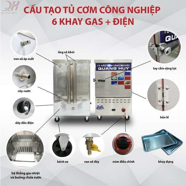 Cấu tạo tủ nấu cơm công nghiệp 6 khay điện gas