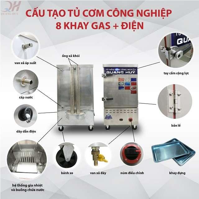 Cấu tạo tủ nấu cơm công nghiệp 8 khay điện gas