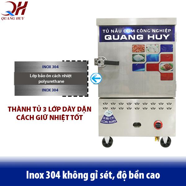 Tủ cơm công nghiệp Quang Huy với thiết kế 3 lớp dày dặn