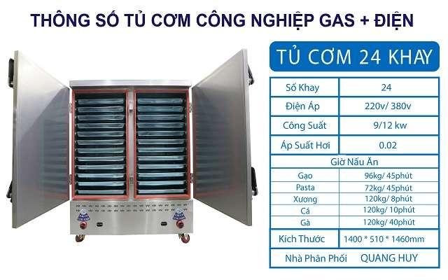 Thông số tủ nấu cơm công nghiệp 24 khay điện gas
