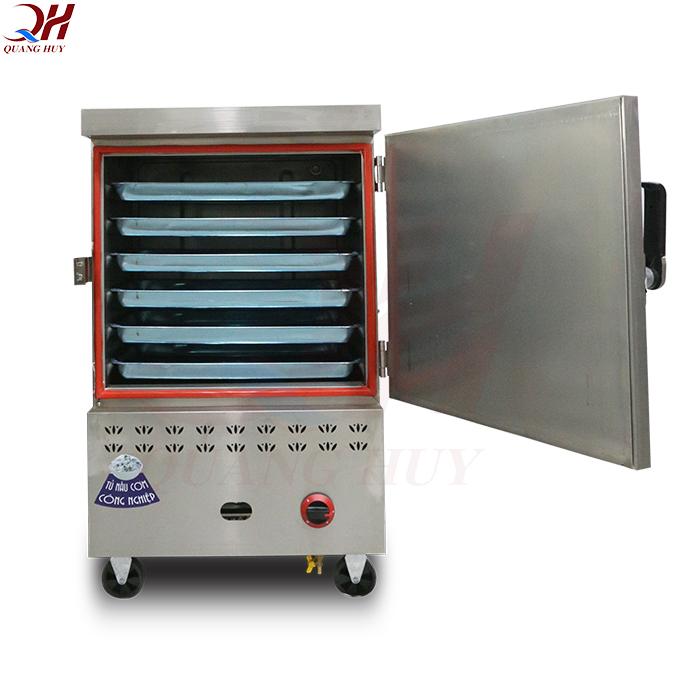 Tủ cơm công nghiệp 6 khay gas + điện tại Quang Huy