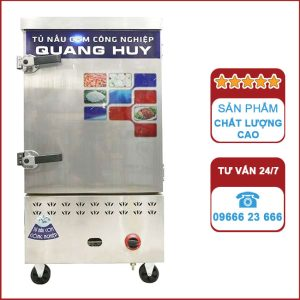 Tủ nấu cơm công nghiệp 10 khay dùng Gas và điện