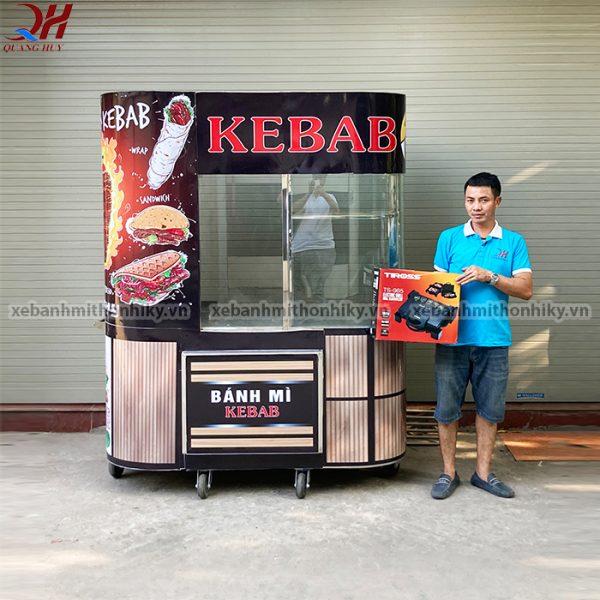 Xe bánh mì kebab 1m8 kính cong
