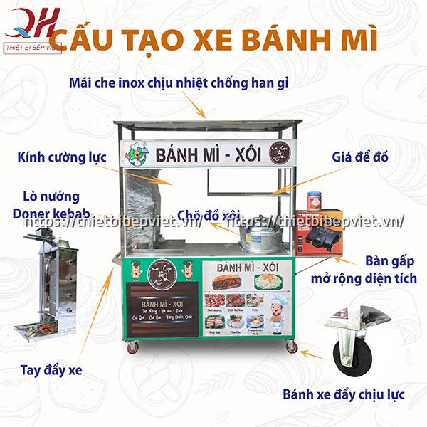 Cấu tạo xe bánh mì xôi 1m5 mẫu mới của Quang Huy
