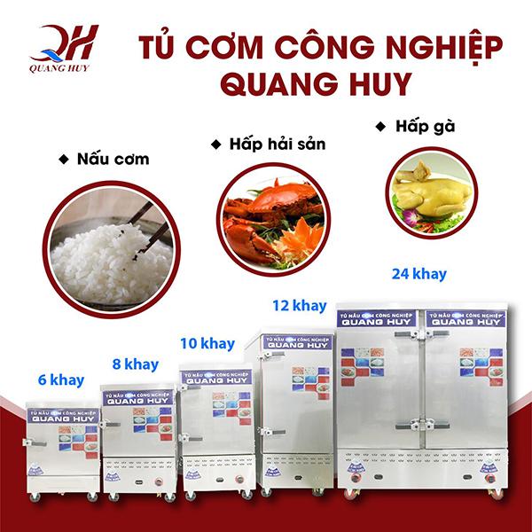 Tủ cơm công nghiệp Quang Huy với khả năng nấu cơm hấp thực phẩm vô cùng đa năng