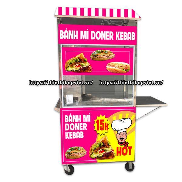 Xe bánh mì doner kebab 70cm mái chùa