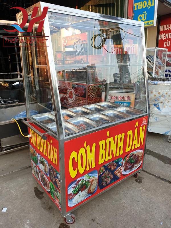 Tủ kính bán cơm bình dân 1m5, 10 khay