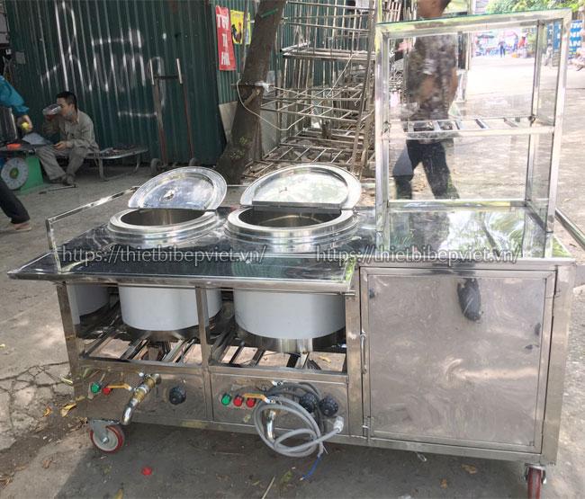 Xe đẩy bán hủ tiếu Inox 304 hàng gia công xưởng cơ khí Quang Huy