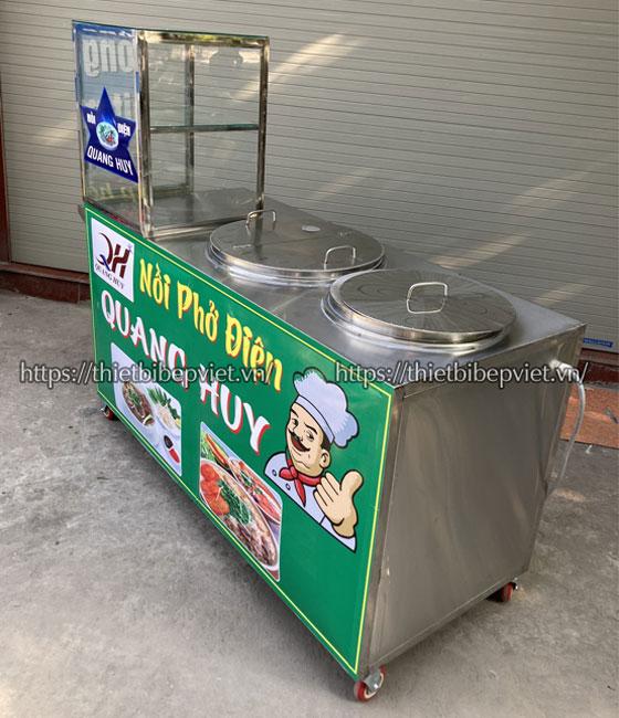 Xe bán hủ tiếu gõ Inox 304 Quang Huy gia công tại xưởng