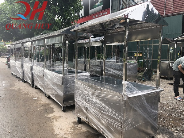 Quang huy nhận làm xe đẩy bán hàng rong theo yêu cầu, chất liệu inox 304 không hoen gỉ