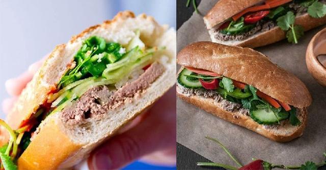 Hoàn thành món bánh mì pate thịt lợn