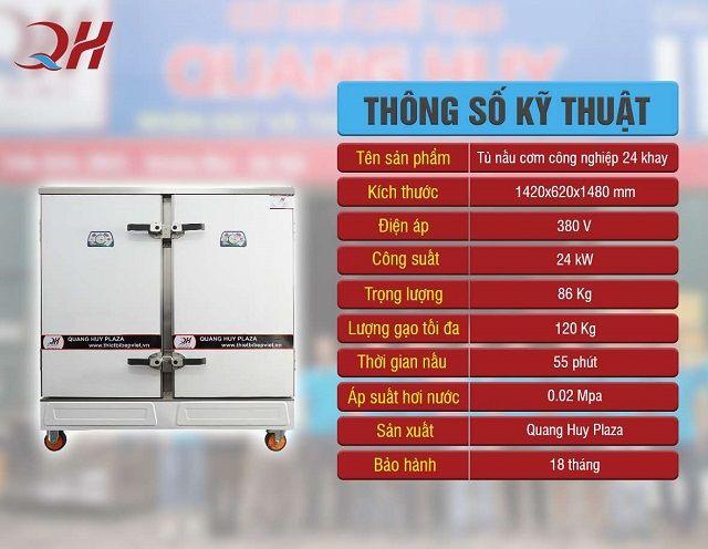 Thông số kỹ thuật tủ nấu cơm 24 khay điện