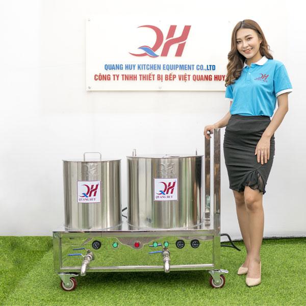 Xe đẩy bán phở 2 nồi điện Quang Huy