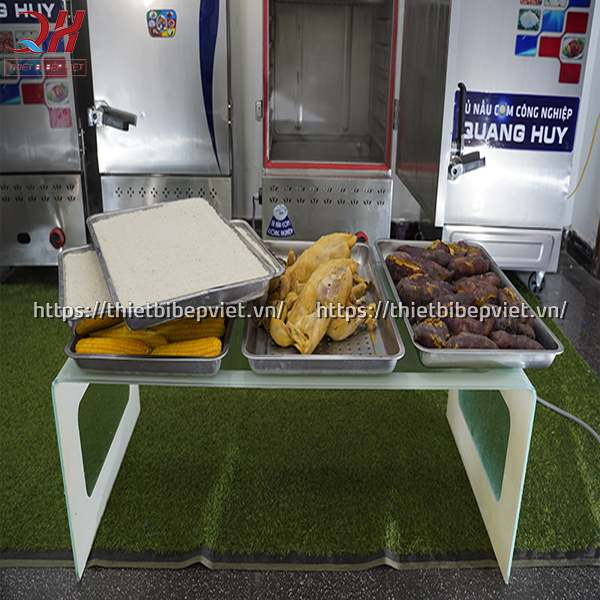 Kết quả sau 60 phút nấu hấp với tủ nấu cơm công nghiệp Quang Huy