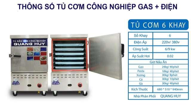 Thông số kỹ thuật tủ nấu cơm 6 khay bằng gas