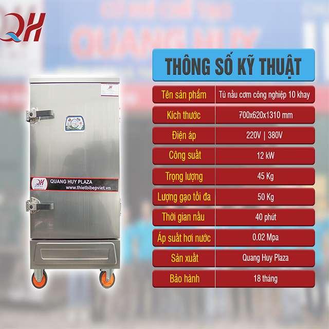 Thông số tủ nấu cơm 10 khay bằng điện