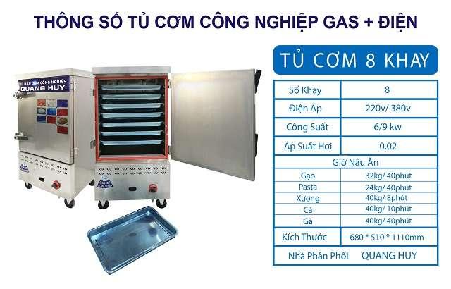 Thông số tủ nấu cơm 8 khay bằng gas