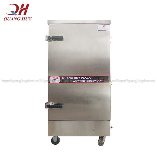 Tủ cơm công nghiệp 12 khay điện Quang Huy phân phối làm từ inox 304