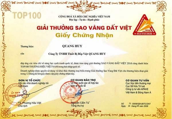 Giấy chứng nhận cho những đóng góp của Quang Huy