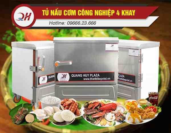 Tủ nấu cơm công nghiệp 4 khay nấu hấp đa năng