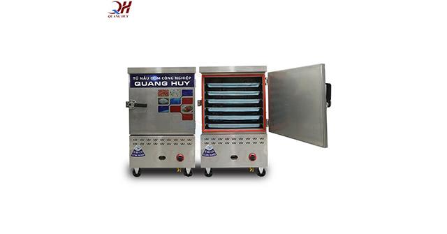 Tủ nấu cơm công nghiệp 6 khay gas điện tích hợp