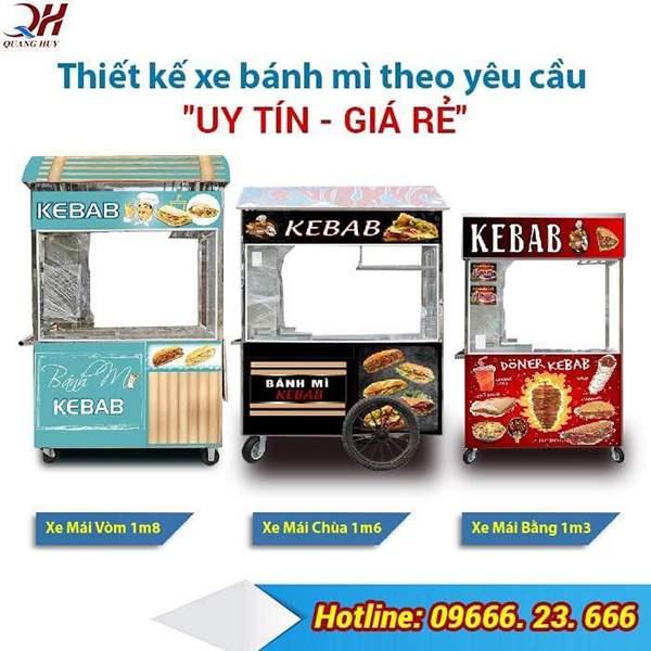 Quang Huy nhận đặt và thiết kế xe bán bánh mì theo yêu cầu uy tín giá rẻ