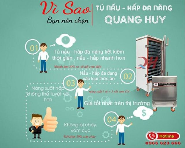 Vì sao nên chọn tủ cơm công nghiệp Quang Huy