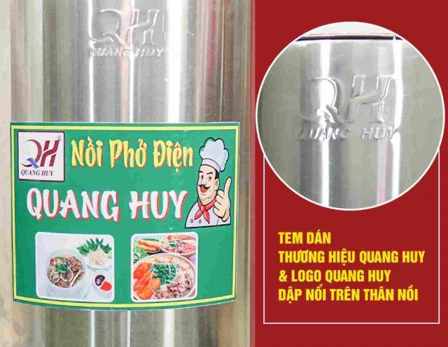 Chất liệu inox 304 dập nổi logo thương hiệu Quang Huy