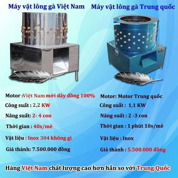Máy vặt lông gà Việt Nam và máy vặt lông gà Trung Quốc