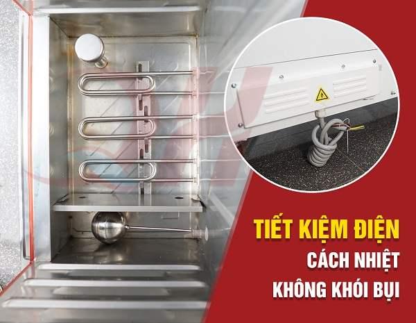 Thanh nhiệt và hệ thống chống tràn thông minh của tủ nấu cơm công nghiệp