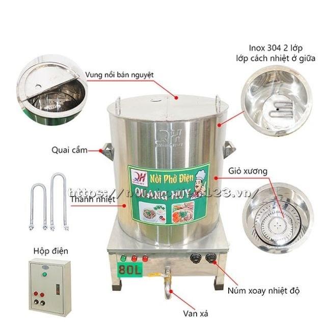 Chi tiết cấu tạo nồi nấu phở 80 lít bằng điện