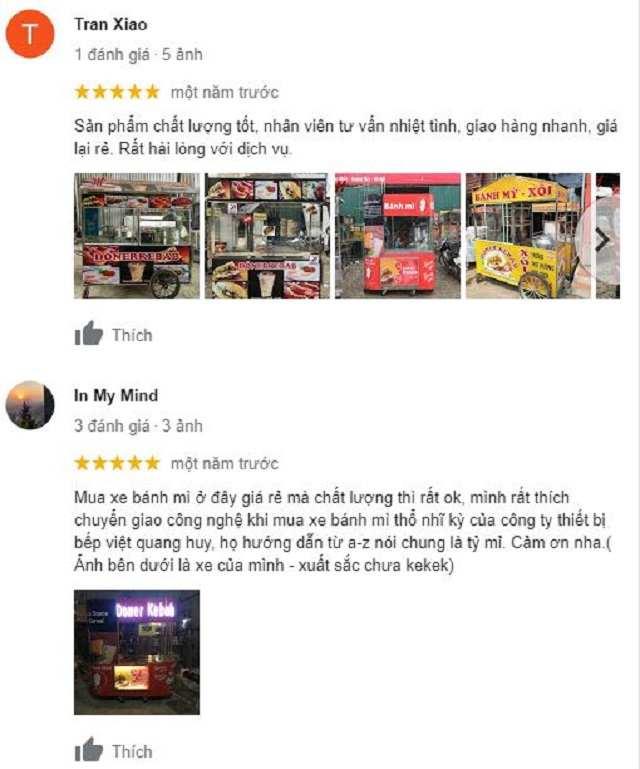 Phản hồi của khách hàng khi đặt gia công xe bánh mì Quang Huy