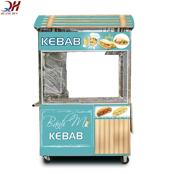 Xe bánh mì Doner Kebab mái vòm, tông màu nhẹ nhàng