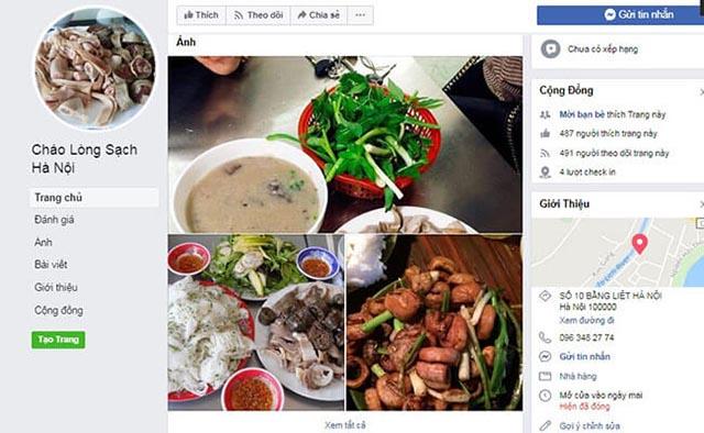 Quảng cáo quán cháo lòng trên facebook, truyền thông quảng cáo quán cháo