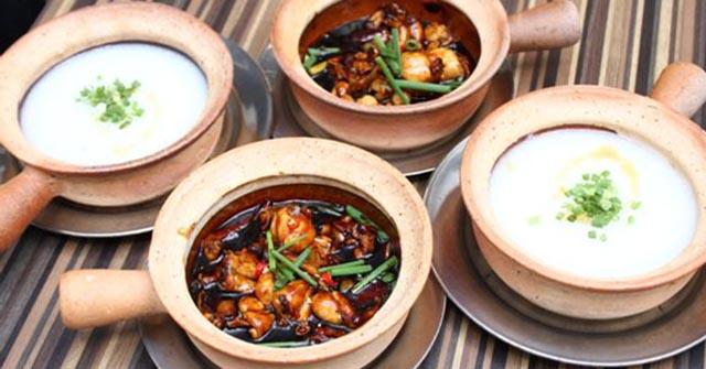 Hoàn thành món cháo ếch Singapore, món cháo ếch Singapore